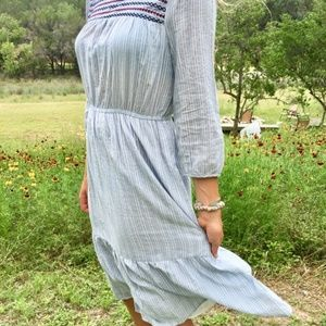 MO:VINT Vintage Blue & White Stripe Embroidered